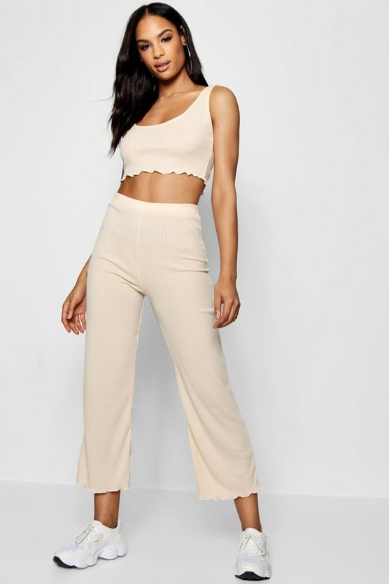 Ribbed Lettuce Hem Top Trouser Co-ord Set