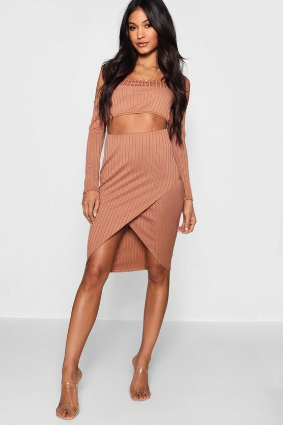 Ribbed Long Sleeve Midi Skirt Co-ord Set