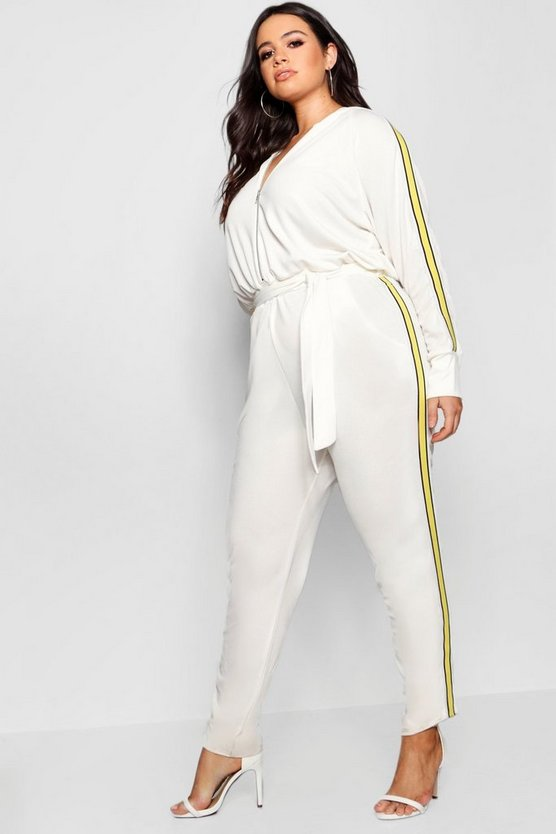 Side Stripe Hooded Jumpsuit
