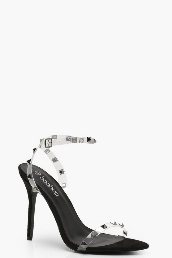 Tia Clear Studded Strap Barely There Heels