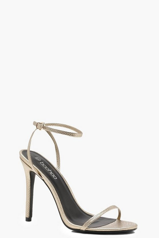 Milly Metallic Snake Effect Skinny Strap Heels