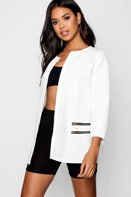 Rosie Rib Collarless Zip Detail Duster