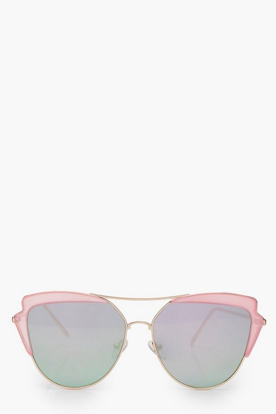 Ellie Pink Cat Eye Brow Bar Sunglasses