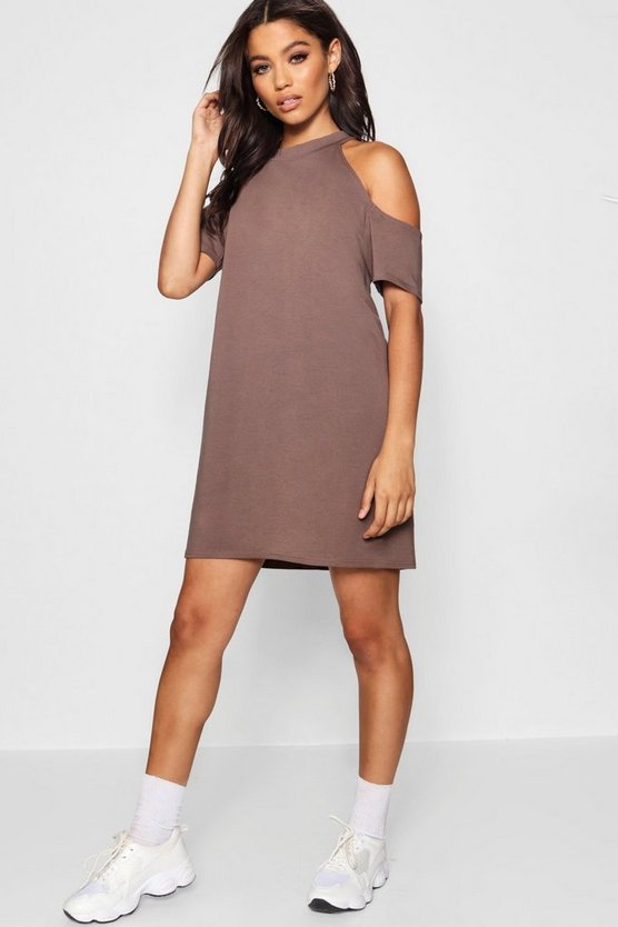 Oversized Cut Out Shoulder T-Shirt Dress