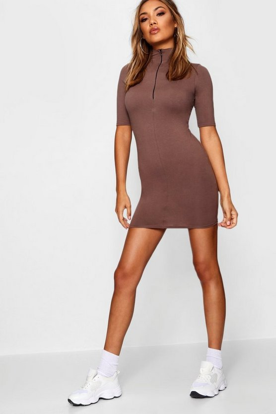 Zoe Zip Detail High Neck Bodycon Dress