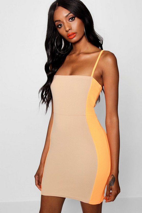 Neon Contrast Panelling Bodycon Dress