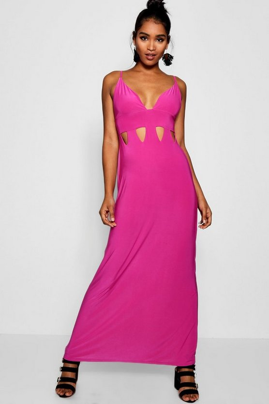Zoey Plunge Front Cut Work Maxi Dress