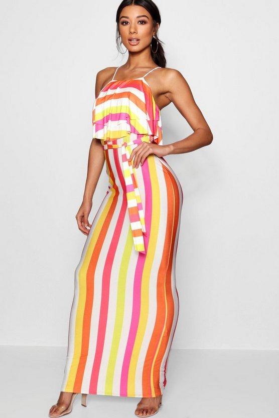 Striped 90's Neck Double Ruffle Maxi Dress