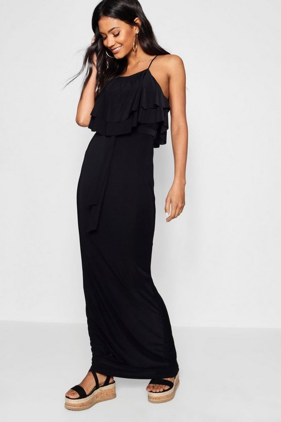 90's Neck Double Ruffle Maxi Dress