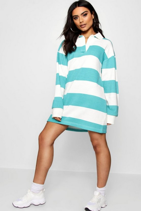 Oversized Tonal Stripe Rugby Shirt Dress