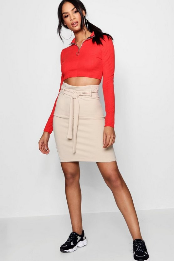 Tailored Paper Waist Mini Skirt