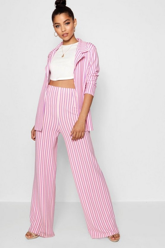 Stripe Pleat Wide Leg Trouser