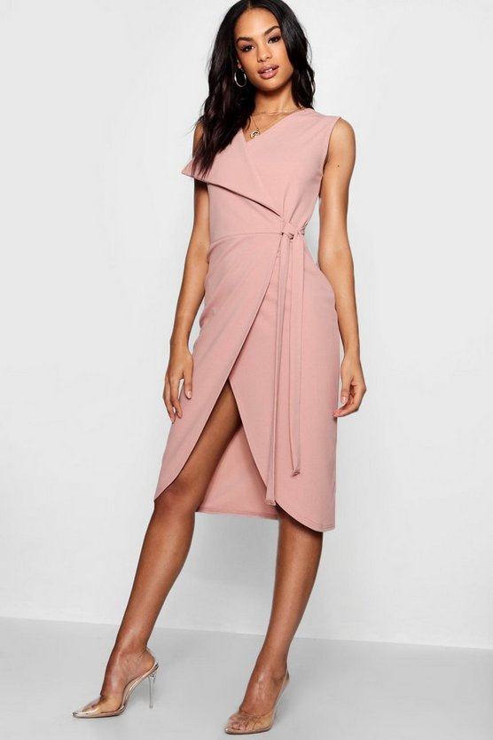Wrap Oversized Lapel Midi Dress