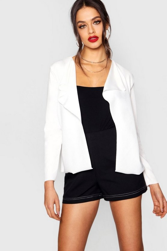 Faye Crop Long Sleeve Waterfall Duster