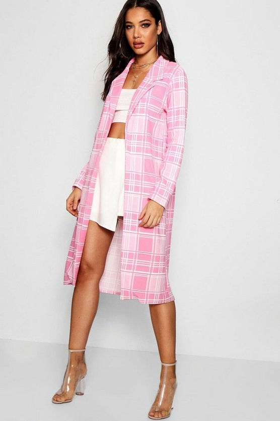 Check Collared Duster Jacket