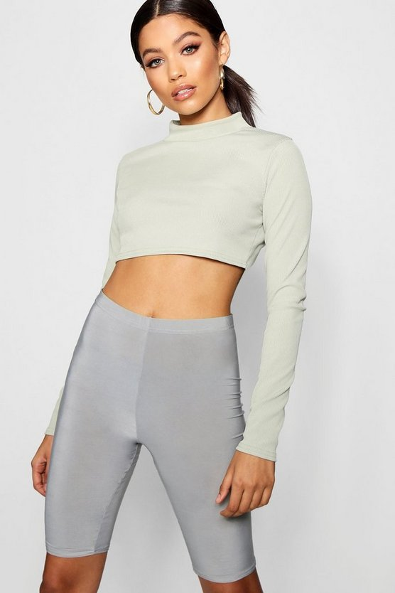 Esme Rib Long Sleeve High Neck Crop
