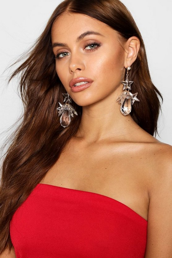 Claire Clear Floral Abstract Earrings