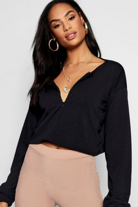 Zip Front Light Weight Crop Sweater