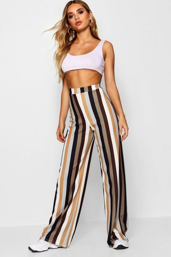 High Waist Tonal Stripe Wide Leg Trouser