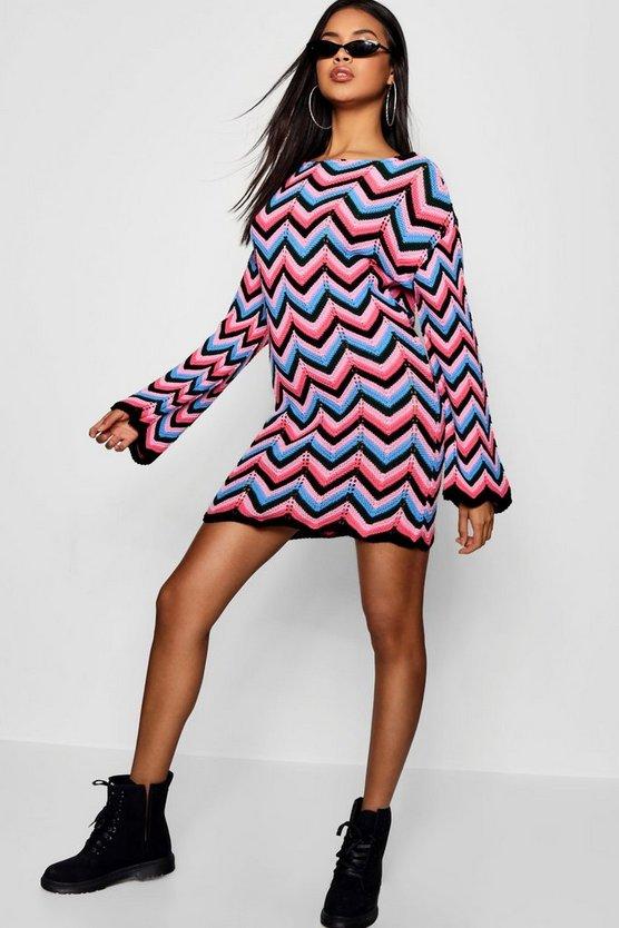 Clara Zig Zag Crochet Scoop Back Dress by Boohoo