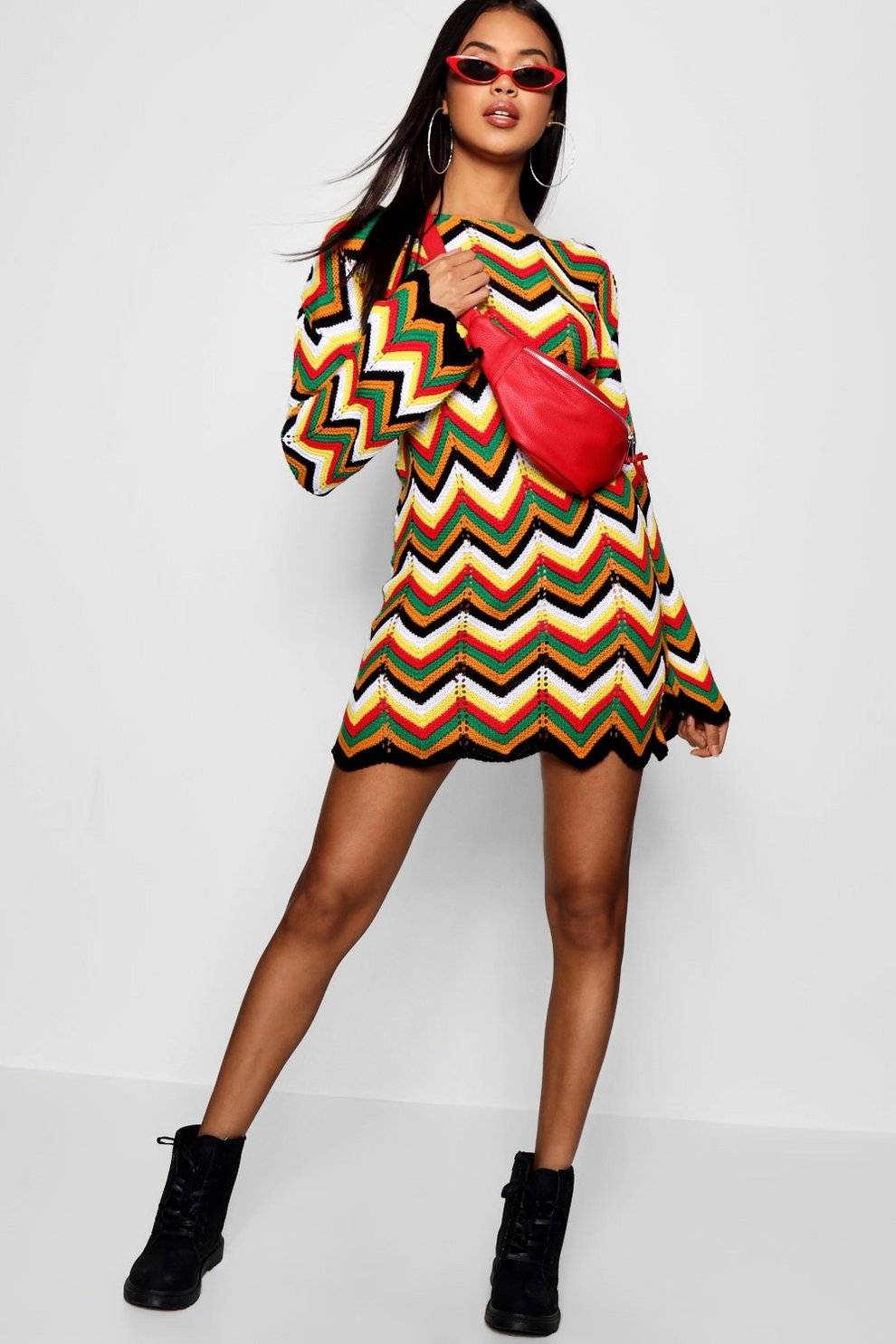 Boohoo Zig Zag Crochet Scoop Back Dress Free Shipping Lowest Price Collections 2018 For Sale cPeTE86UU8