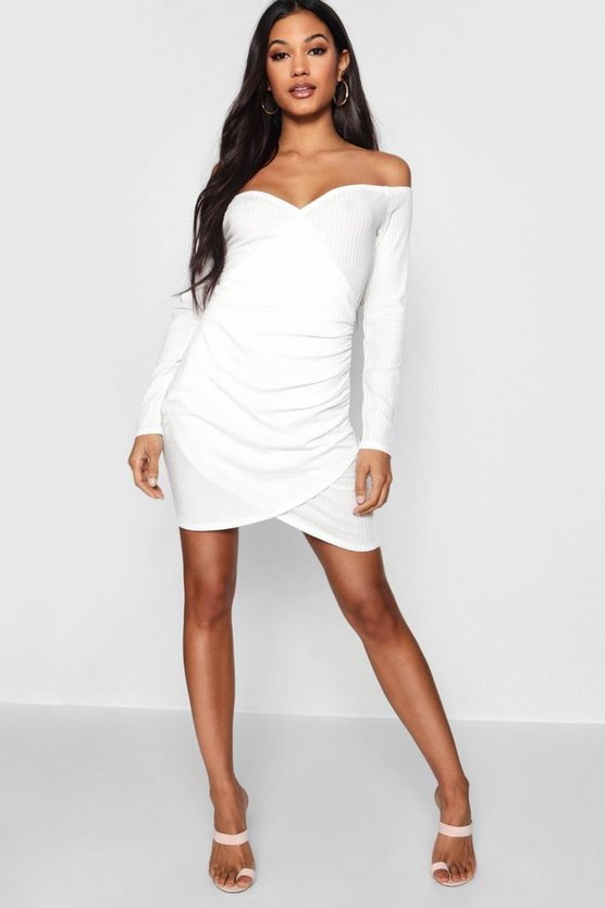 Soft Knit Off The Shoulder Wrap Dress