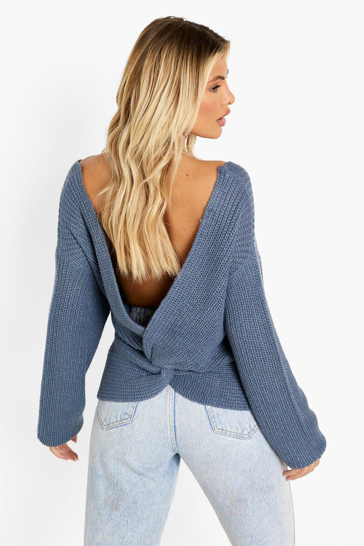 Womens Kurzer Pullover mit Drehdetail - denim - S/M, Denim - Boohoo.com