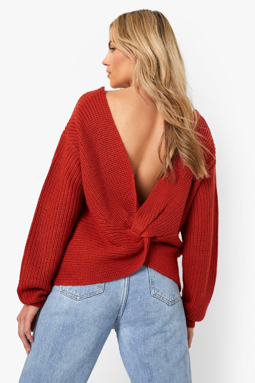 Womens Kurzer Pullover mit Drehdetail - rust - M/L, Rust - Boohoo.com