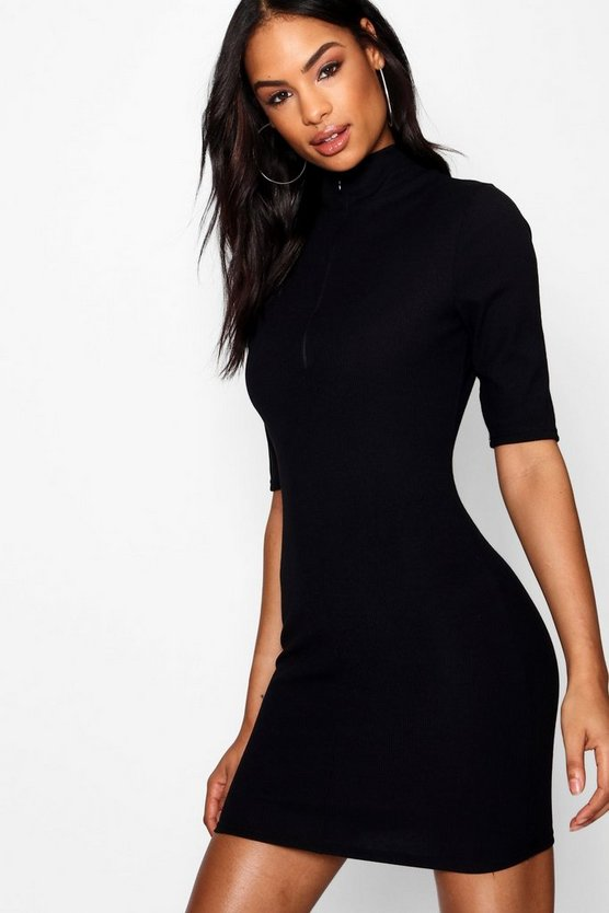 Ellie Funnel Neck Zip Up Rib Knit Dress