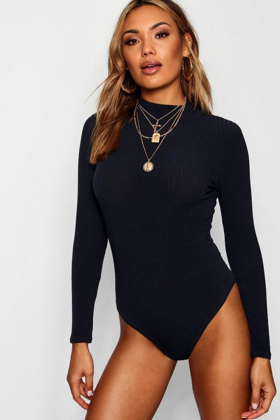 Turtle Neck Longsleeve Knitted Bodysuit