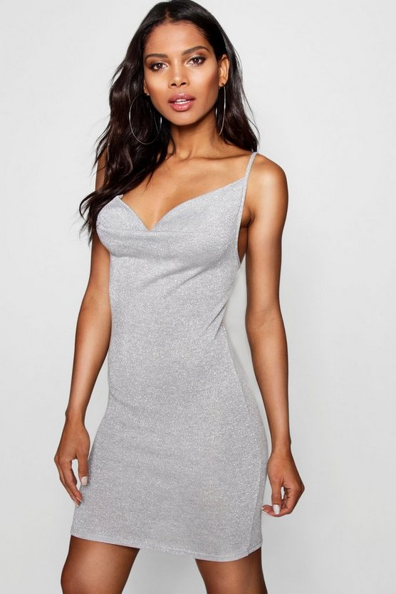 Cowl Neck Strappy Metallic Knit Dress