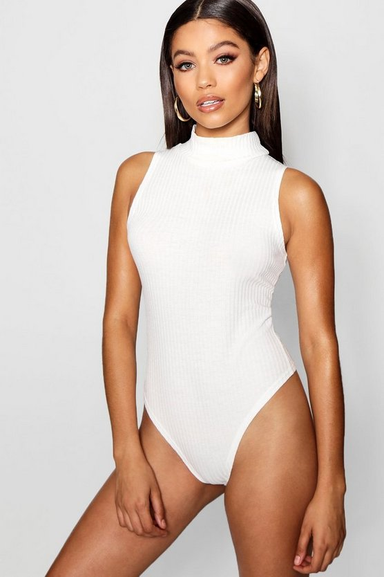 Turtle Neck Rib Knit Thong Bodysuit