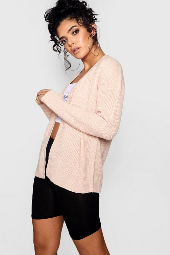 Katie Loose Fit Boxy Cardigan With Fisherman Rib