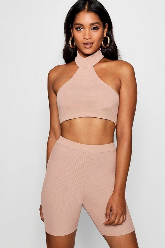 Ribbed Tonal Halterneck Crop Top