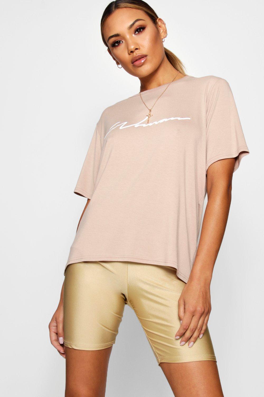Womens Übergroßes Woman T-Shirt - steingrau - 34, Steingrau - Boohoo.com