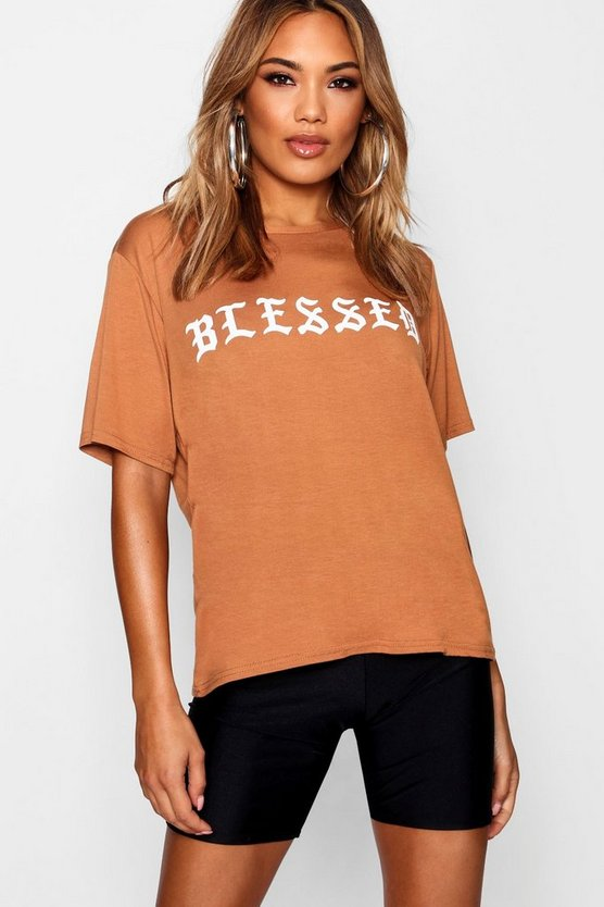 "Camiseta extragrande con eslogan ""Blessed"""