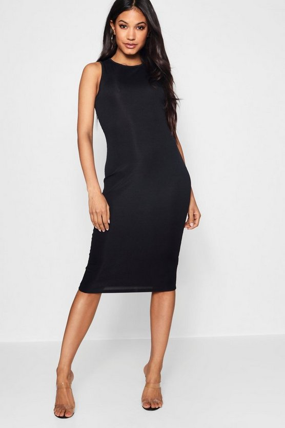 Grace Ribbed High Neck Midi Dress