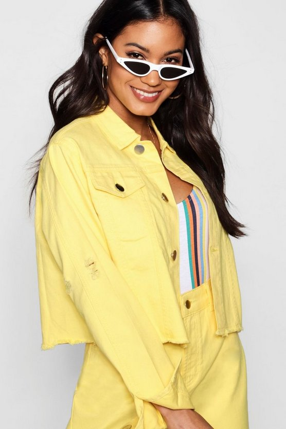 Carly Cropped Contrast Stitch Lemon Denim Jacket