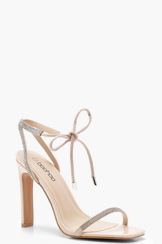 Lily Diamante Skinny Strap Barely There Heels
