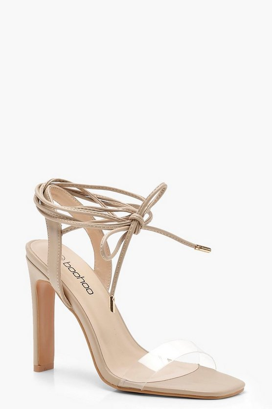 Clear Band Wrap Strap Slim Block Heels