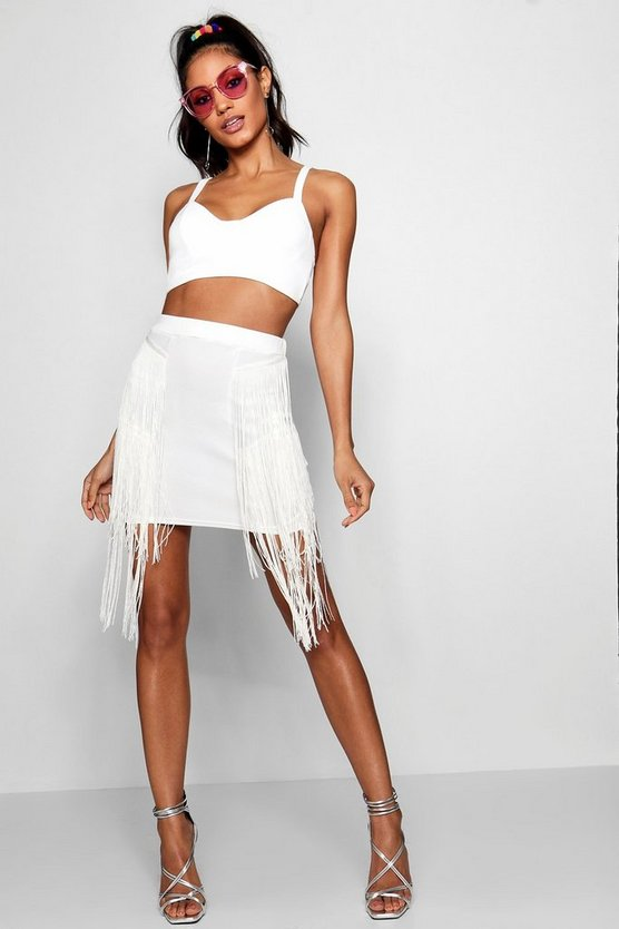 Tassel Side Mini Skirt