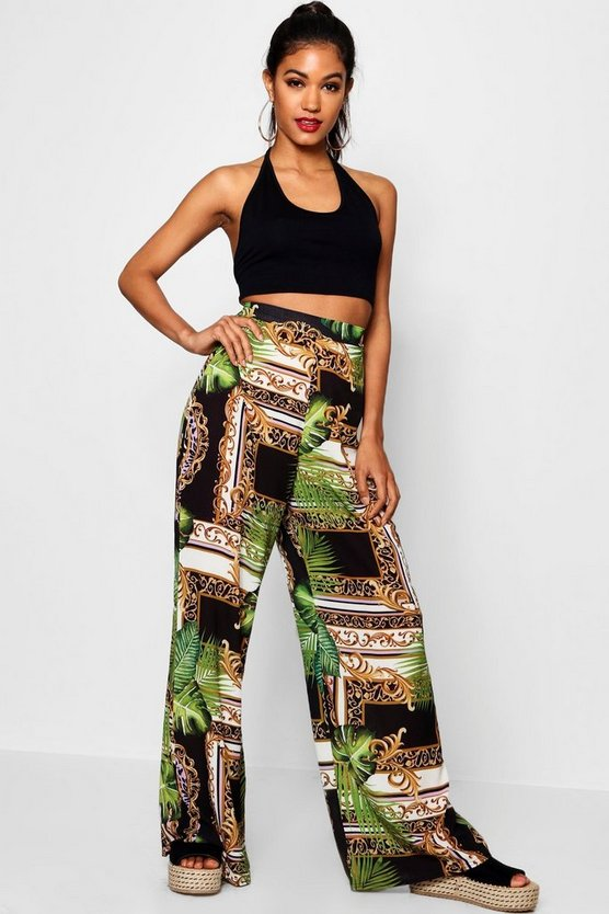Woven Tropical Chain Wide Leg Trouser
