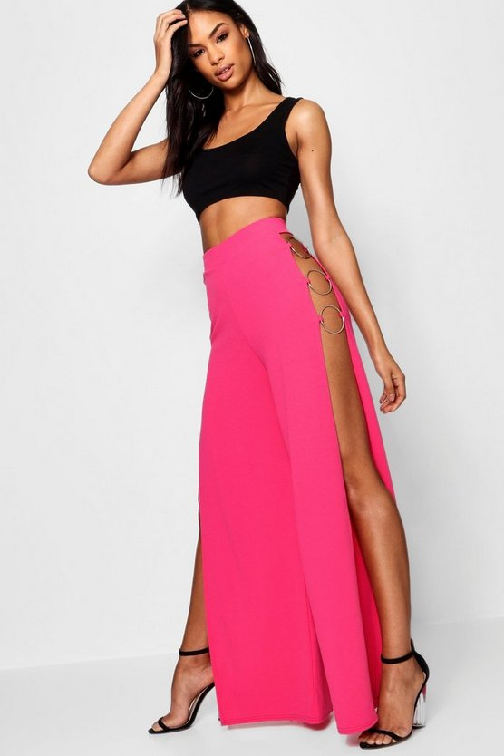 Isla Crepe O Ring Side Split Wide Leg Trouser