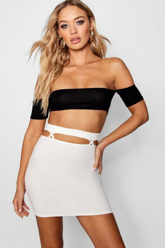 Jessica Cut Out Waist Crepe Mini Skirt