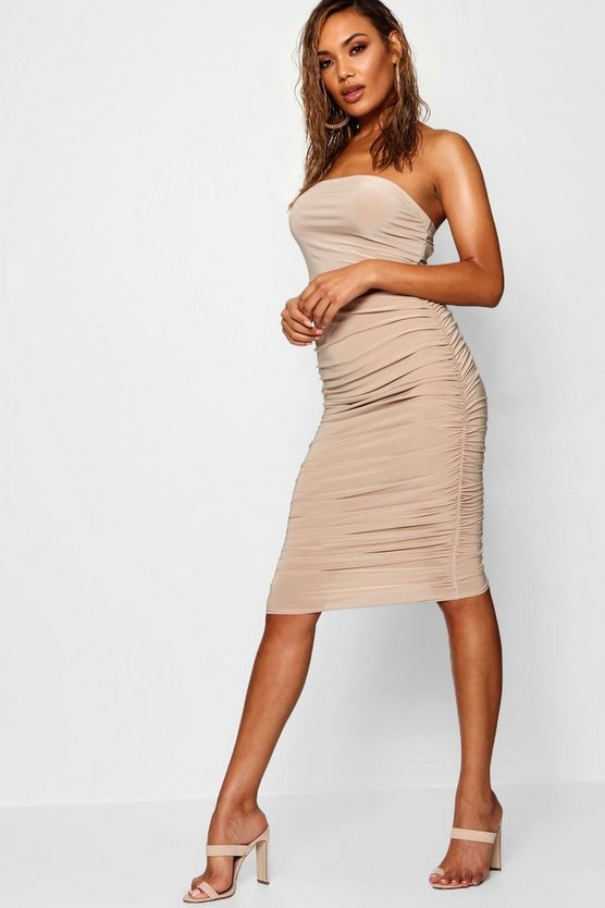 Soft Touch Slinky Rouched Midi Skirt