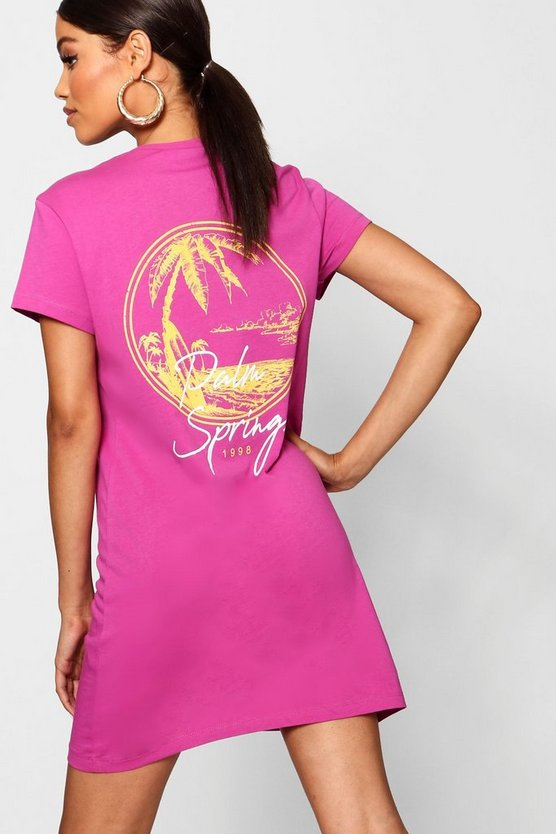 Palm Springs Print T-Shirt Dress
