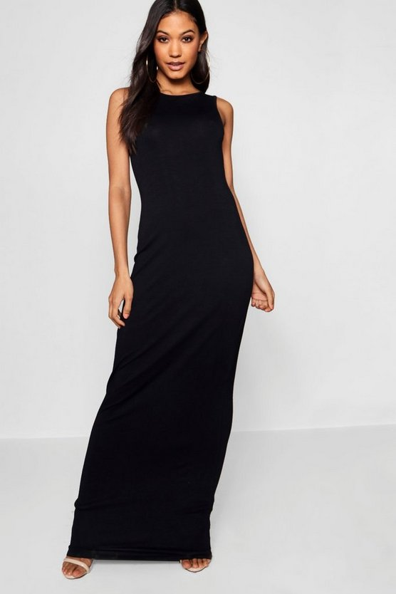 Phoebe Racer Front Basic Jersey Maxi Dress