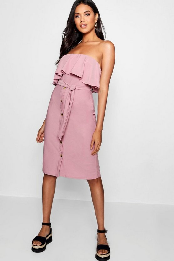Bandeau Ruffle Tie Waist Midi Dress
