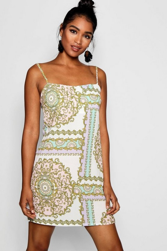 Amelia Pastel Chain Print Square Neck Cami Dress