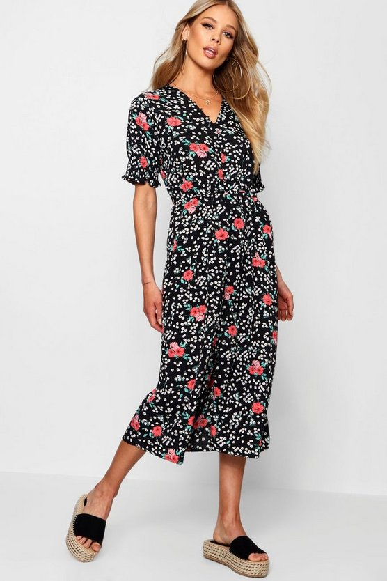Ditsy Floral Button Midi Tea Dress